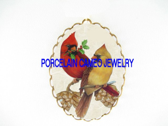 2 CARDINAL BIRD HOLLY BERRY PINE CONE*  CAMEO PORCELAIN PENDANT/PIN BROOCH