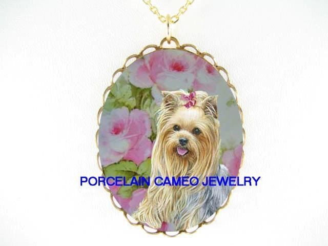 YORKSHIRE TERRIER DOG WITH VICTORIAN ROSE* CAMEO PORCELAIN NECKLACE