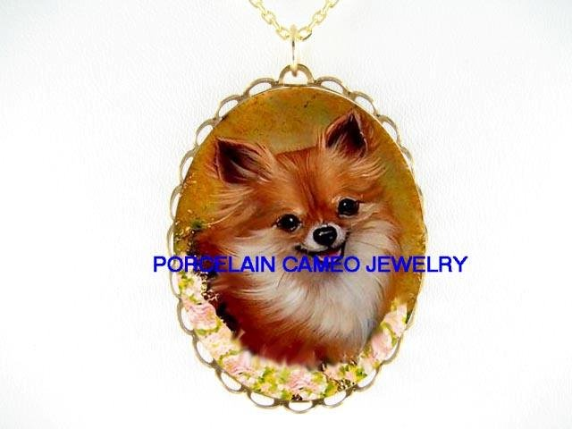 SMILING LONG HAIR CHIHUAHUA DOG WITH ROSE CAMEO PORCELAIN NECKLACE