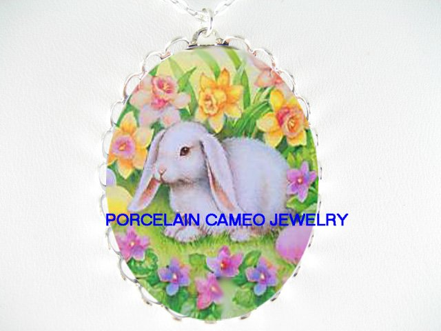 Rabbit bunny WITH DAFFODIL FLOWER*  CAMEO PORCELAIN NECKLACE