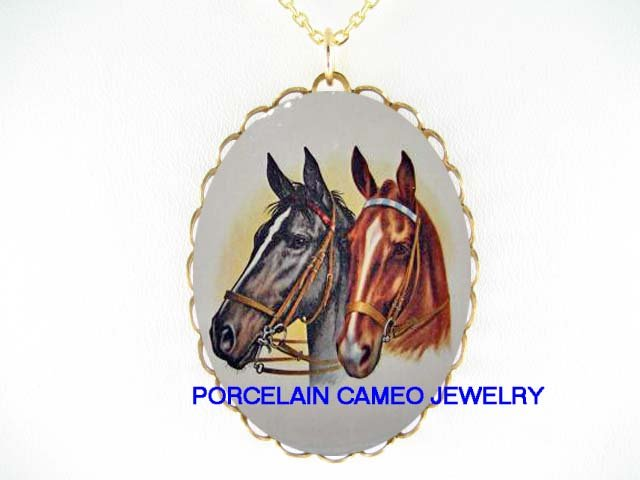 2 BLACK AND BROWN ARABIAN HORSE * CAMEO PORCELAIN NECKLACE