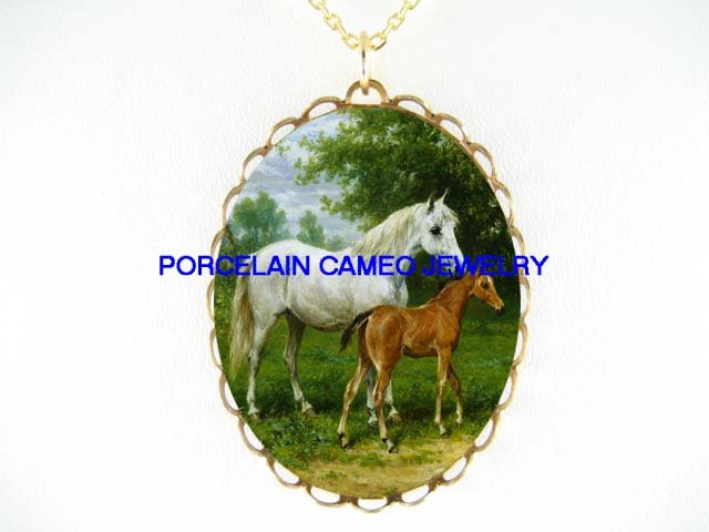 MARE CUDDLING FOAL HORSE* CAMEO PORCELAIN NECKLACE