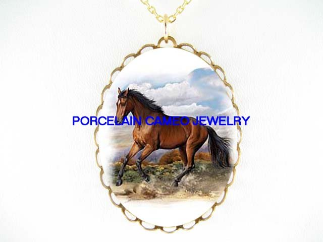 BROWN ARABIAN HORSE RUNNING* CAMEO PORCELAIN NECKLACE