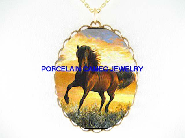 BROWN ARABIAN HORSE RUN SUNSET CAMEO PORCELAIN NECKLACE
