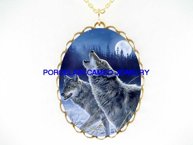 2 GREY WOLF HOWLING MOON*CAMEO PORCELAIN NECKLACE
