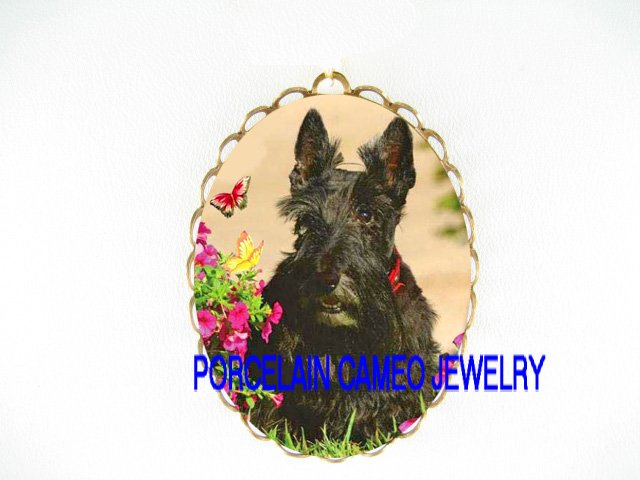 SCOTTISH TERRIER DOG CHASING BUTTERFLY*  CAMEO PORCELAIN PENDANT/PIN BROOCH