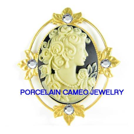 VICTORIAN ROSE GODDESS LADY VINTAGE CAMEO SWAROVSKI PIN PENDANT