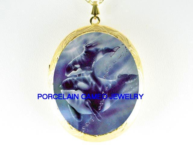 2 ORCA KILLER WHALE MOM BABY*  CAMEO PORCELAIN LOCKET NECKLACE
