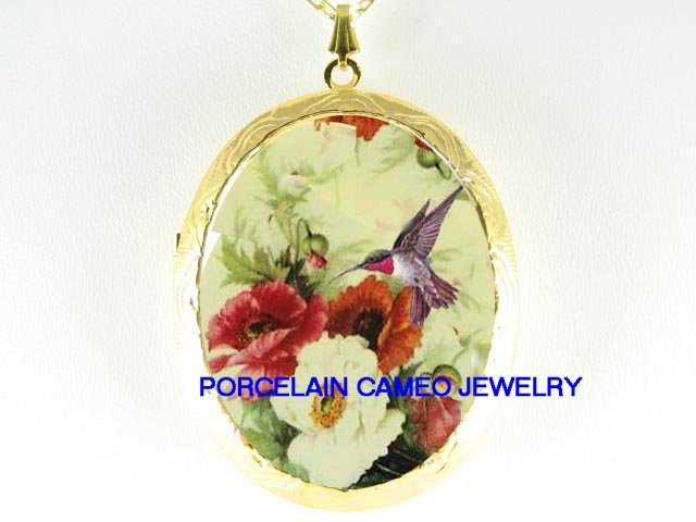 HUMMINGBIRD WITH POPPY CAMEO PORCELAIN LOCKET NECKLACE