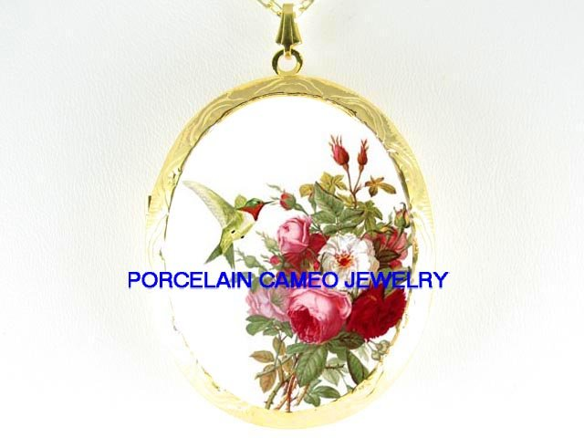 HUMMINGBIRD VICTORIAN ROSE CAMEO PORCELAIN LOCKET NK