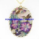 3 HUMMINGBIRD WITH MORNING GLORY*CAMEO PORCELAIN NECKLACE