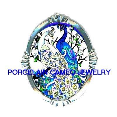 BLUE WHITE PEACOCK DOGWOOD PORCELAIN CAMEO PIN PENDANT
