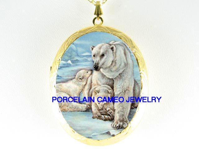 POLAR BEAR MOM CUB FAMILY CAMEO PORCELAIN LOCKET NECKLACE
