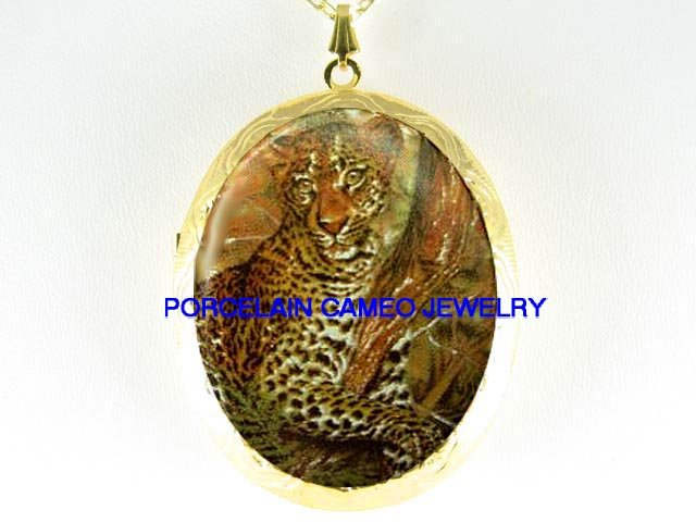 LEOPARD WILD CAT IN THE TREE*  CAMEO PORCELAIN LOCKET NECKLACE