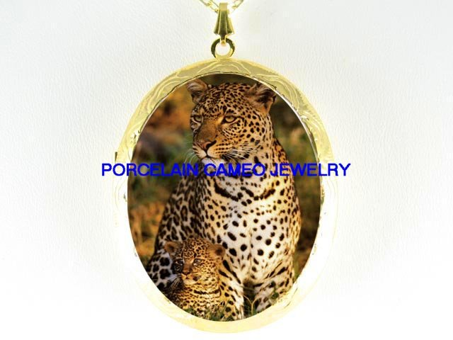 LEOPARD MOM CUDDLING BABY CUB*  CAMEO PORCELAIN LOCKET NECKLACE
