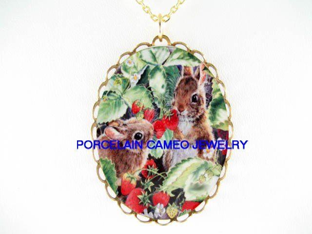 2 RABBIT BUNNY SHARING STRAWBERRY*CAMEO PORCELAIN NECKLACE
