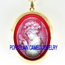VICTORIAN RED HAT VANITY LADY VINTAGE CAMEO LOCKET NECKLACE
