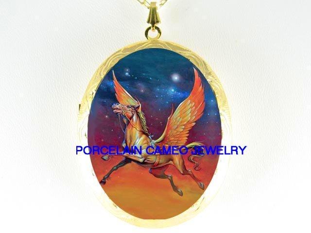 GOLDEN PEGASUS HORSE SOARING CAMEO PORCELAIN LOCKET NECKLACE