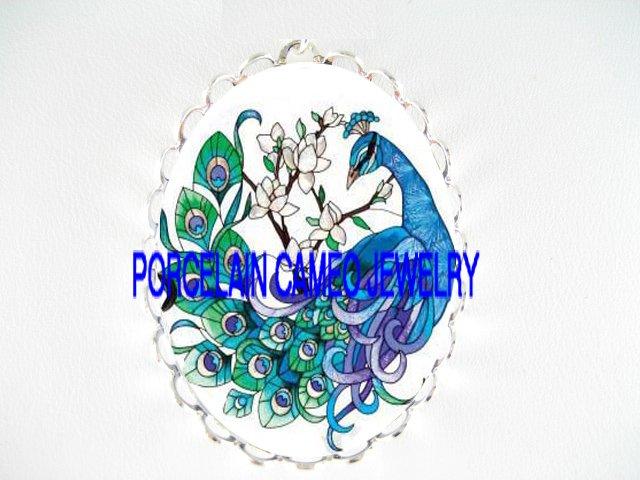 BLUE PEACOCK DOGWOOD CAMEO PORCELAIN PENDANT PIN BROOCH