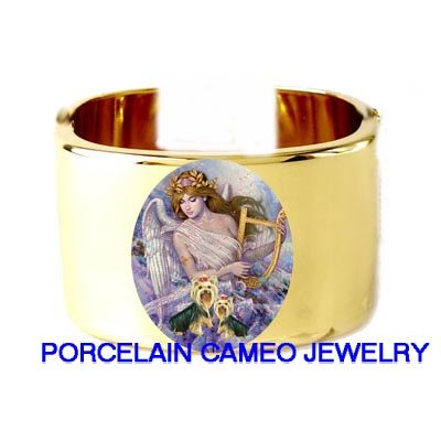 ANGEL WITH 2 YORKSHIRE TERRIER DOG CAMEO PORCELAIN CUFF BANGLE BRACELET
