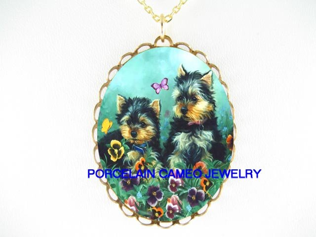2 YORKSHIRE TERRIER PUPPY DOG BUTTERFLY SPRING PANSY*CAMEO PORCELAIN NECKLACE