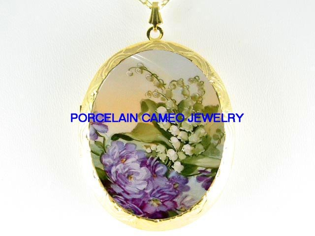 PURPLE VIOLET LILY OF THE VALLEY *  CAMEO PORCELAIN LOCKET NECKLACE