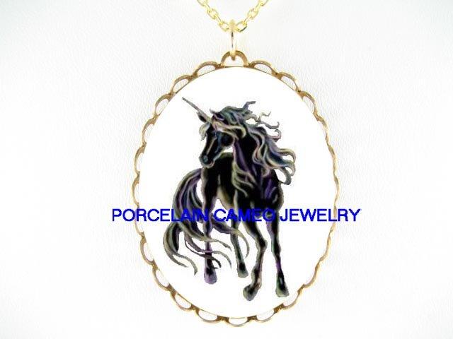 BLACK UNICORN HORSE CAMEO PORCELAIN PENDANT NECKLACE