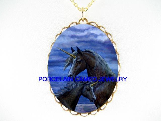 BLACK UNICORN HORSE MARE FOAL CAMEO PORCELAIN NECKLACE