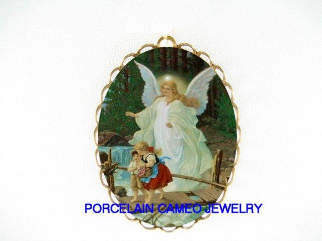 GUARDIAN ANGEL CHILDREN BRIDGE CAMEO PORCELAIN PIN BROOCH