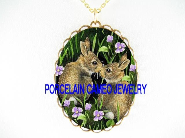 2 KISSING RABBIT BUNNY FLOWER PORCELAIN CAMEO NECKLACE