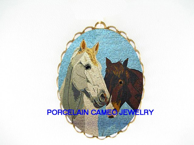 2 MOSAIC WHITE BROWN STALLION HORSE*  CAMEO PORCELAIN PENDANT/PIN BROOCH
