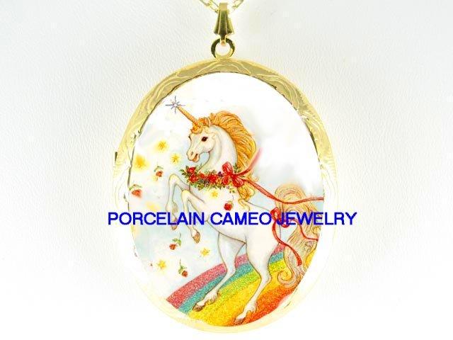 UNICORN HORSE ROSE RAINBOW *  CAMEO PORCELAIN LOCKET NECKLACE