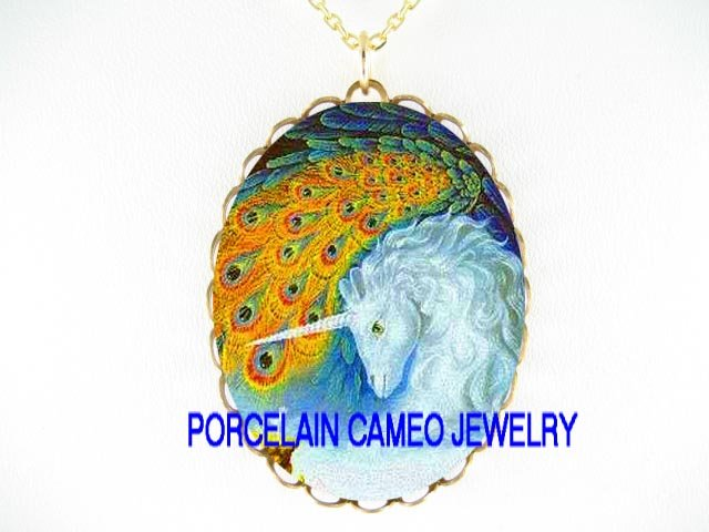 UNICORN HORSE WITH PEACOCK CAMEO PORCELAIN NECKLACE