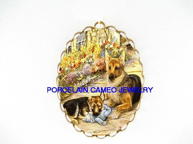 2 GERMAN SHEPHERD DOG MOM PUPPY*  CAMEO PORCELAIN PENDANT/PIN BROOCH