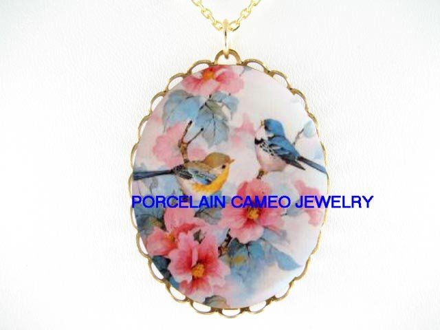 2 BABY ROBIN BIRD APPLE BLOSSOMS*CAMEO PORCELAIN NECKLACE