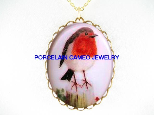 BABY ROBIN BIRD CAMEO PORCELAIN PENDANT NECKLACE