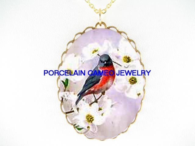 ROBIN BIRD DOGWOOD *CAMEO PORCELAIN NECKLACE
