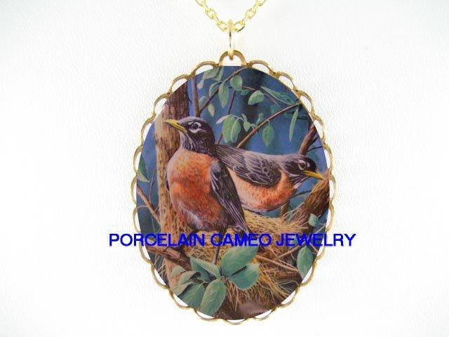 2 ROBIN BIRD COUPLE CAMEO PORCELAIN PENDANT NECKLACE