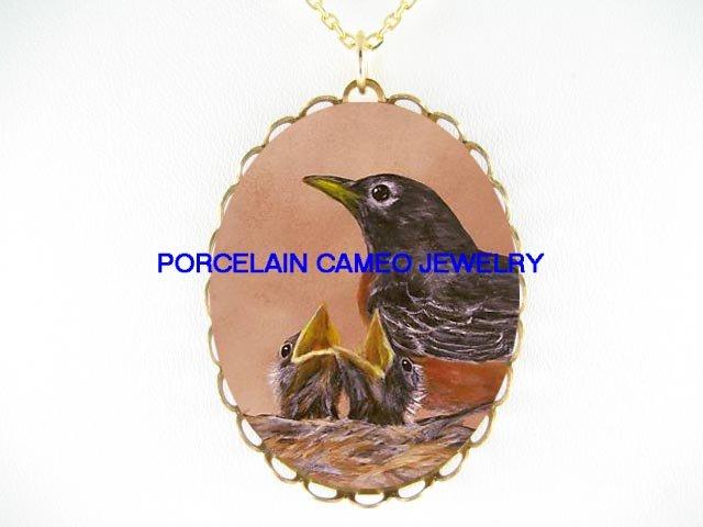 3 ROBIN BIRD FAMILY MOM BABY*CAMEO PORCELAIN NECKLACE