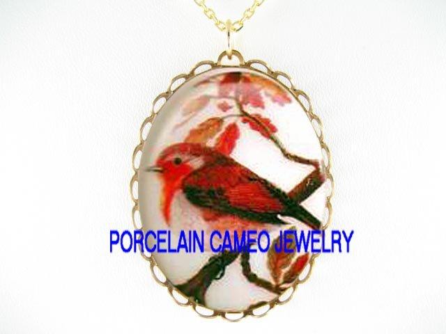 ROBIN BIRD IN FALL*CAMEO PORCELAIN NECKLACE