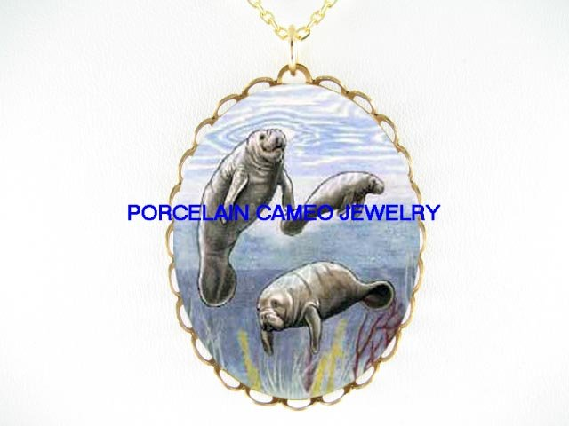 3 MANATEE FAMILY CAMEO PORCELAIN PENDANT NECKLACE