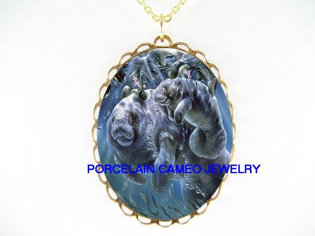 MANATEE MOM AND BABY PLAYING* CAMEO PORCELAIN NECKLACE
