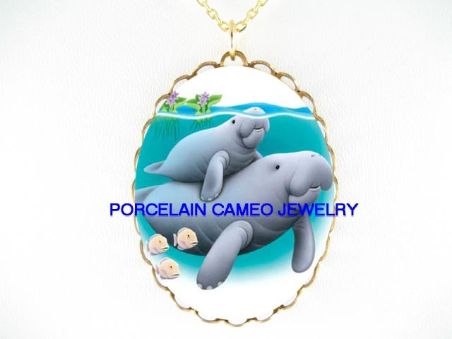 MANATEE MOM AND BABY FISH CAMEO PORCELAIN NECKLACE