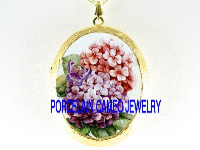PURPLE PINK HYDRANGEA BUTTERFLY CAMEO PORCELAIN LOCKET NK