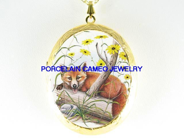 RED FOX BROWN EYED SUSAN PORCELAIN CAMEO LOCKET NECKLACE