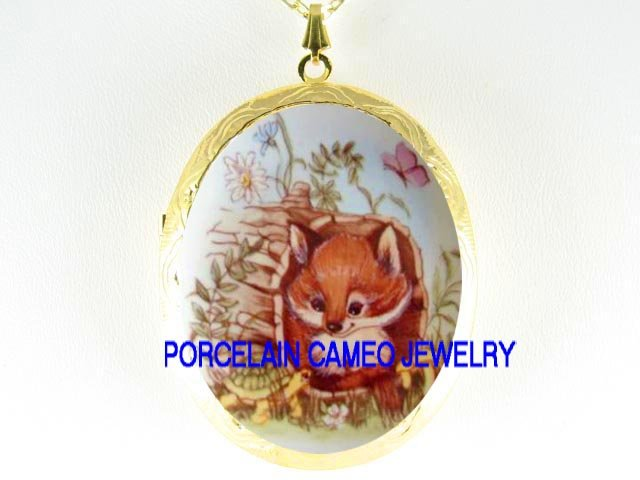 BABY RED FOX TURTLE BUTTERFLY PORCELAIN CAMEO LOCKET NECKLACE