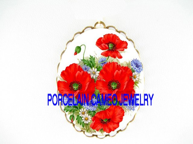 POPPY POPPIES WITH DAISY PORCELAIN CAMEO PIN PENDANT