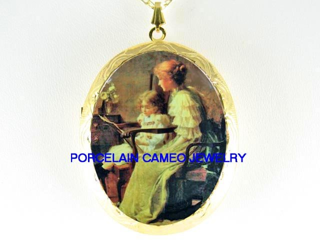 VICTORIAN MOTHER DAUGHTER READING BOOK*  CAMEO PORCELAIN LOCKET NECKLACE