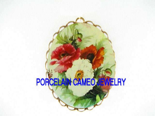 COLORFUL  POPPY POPPIES FLOWER CAMEO PORCELAIN PENDANT/PIN BROOCH
