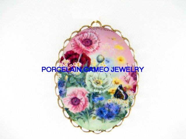 COLORFUL  POPPY BUTTERFLY CAMEO PORCELAIN PENDANT/PIN BROOCH